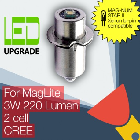 MagLite LED Upgrade/conversion bulb for MAG-NUM STAR II bi-pin MagLite Torch/flashlight 2D/2C CREE