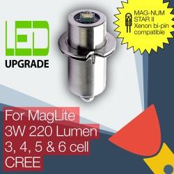MagLite LED Upgrade/conversion bulb for MAG-NUM STAR II bi-pin MagLite Torch/flashlight 3D/3C, 4D/4C, 5D, 6D Cell CREE XP-G2