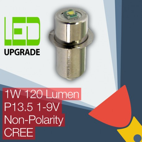 LED Conversion/upgrade bulb for many popular Torches/flashlights P13.5 Flange Universal Non-Polarity 1-9V 1W 120LM CREE