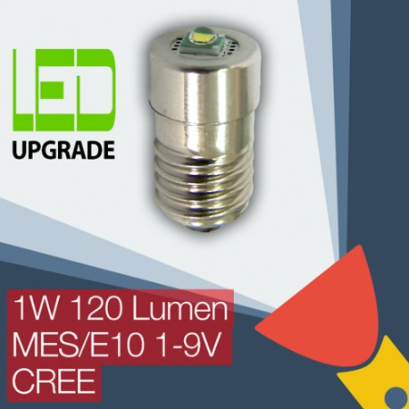 LED Upgrade/conversion bulb for many popular Torches/flashlights MES/E10 Universal 1-9V 1W 120LM CREE