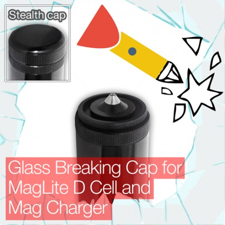Stealthy Glass Breaking Cap for MagLite D Cell and Mag Charger Torch/flashlight