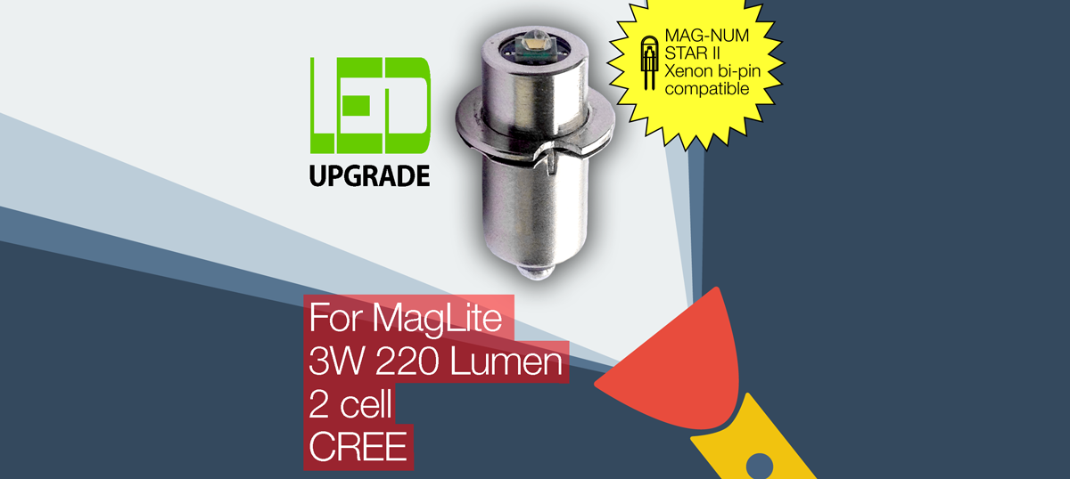 MagLite LED Upgrade/conversion bulb for MAG-NUM STAR II bi-pin MagLite Torch/flashlight 2D/2C Cell CREE XP-G2
